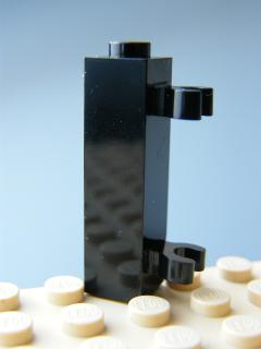 LEGO 60583 Black Brick, Modified 1 x 1 x 3 with 2 Clips Vertical