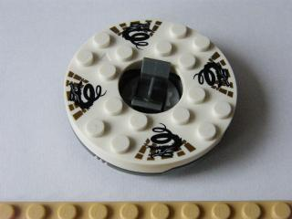 LEGO bb493c01pb01 - Turntable 6 x 6 Round Base with White Top with Black Dragons