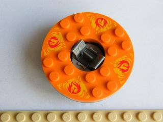 LEGO bb493c05pb02 - Turntable 6 x 6 Round Base with Orange Top and Red Phoenixes