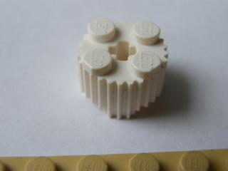 LEGO 29247 - White Brick, Round 2 x 2 with Flutes (Grille)