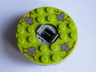 LEGO bb493c06pb01 - Turntable 6 x 6 Round Base with Lime Top