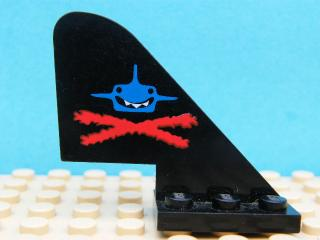 LEGO  3587pb02 Tail Old with Aquazone Aquashark Blue Shark with Red 'X' Pattern