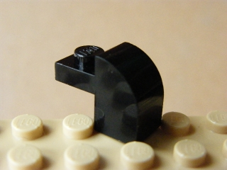 LEGO 6091 Black Brick, Modified 1 x 2 x 1 1/3 with Curved Top