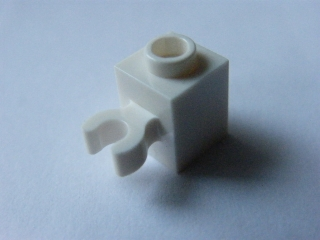 LEGO 30241 - White Brick, Modified 1 x 1 with Clip Vertical
