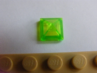 LEGO 22388 Trans-Bright Green Slope 45 1 x 1 x 2/3 Quadruple Convex Pyramid