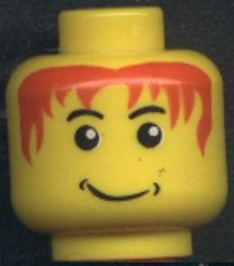 LEGO 3626bpb0050 Minifigure, Head Male Messy Red Hair, Smile, White Pupils Pattern