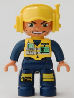 Duplo Figure 47394pb69 - Ville, Male, Dark Blue Legs & Jumpsuit with Yellow Vest