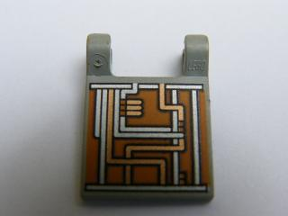 LEGO 2335ps1 - Flag 2 x 2 Square with Orange and Silver Circuitry Pattern