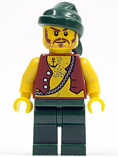 LEGO pi095 - Pirate Vest and Anchor Tattoo, Dark Green Legs